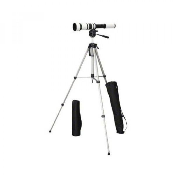 Walimex Pro 650-1300 mm 1:8-16 Objektiv (95 mm Filtergewinde) für Minolta AF/Sony Objektivbajonett und WT-3570 Kamerastativ schwarz-weiß-38