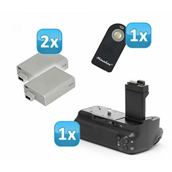 Minadax Batteriegriff für Canon EOS 450D, 500D wie BG-E5 + 2x LP-E5 (wie das Original) + 1x Infrarot Fernbedienung!-39