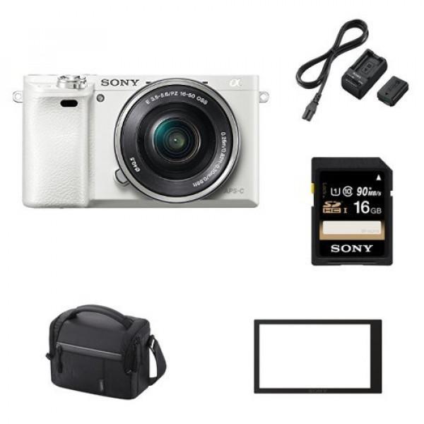"Sony Alpha 6000 Systemkamera (24 Megapixel, 7,6 cm (3"") LCD-Display, Exmor APS-C Sensor, Full-HD, High Speed Hybrid AF) inkl. SEL-P1650 Objektiv weiss + Sony ACCTRW.CEE Akku Kit mit BCTRW Ladegerät und NPFW50 W-Serie Li-Akku + Sony SF16U Class6 16GB SDHC-31"