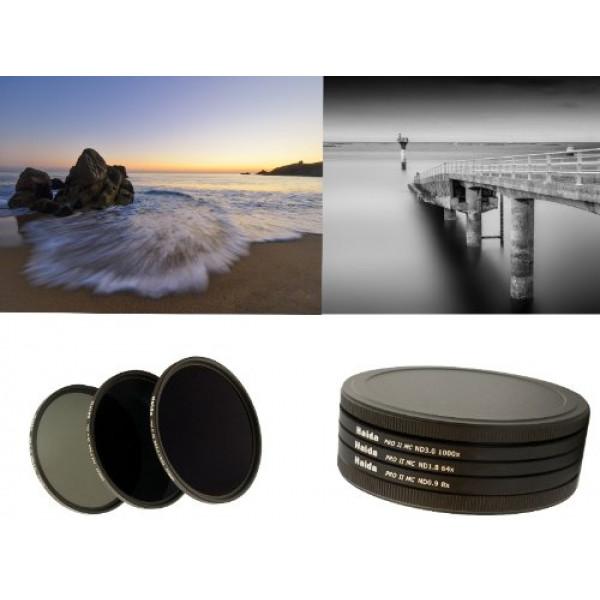 HAIDA PRO II Digital MC Neutral Graufilter Set bestehend aus ND8, ND64, ND1000 Filtern 77mm inkl. Stack Cap Filtercontainer und Cap-38