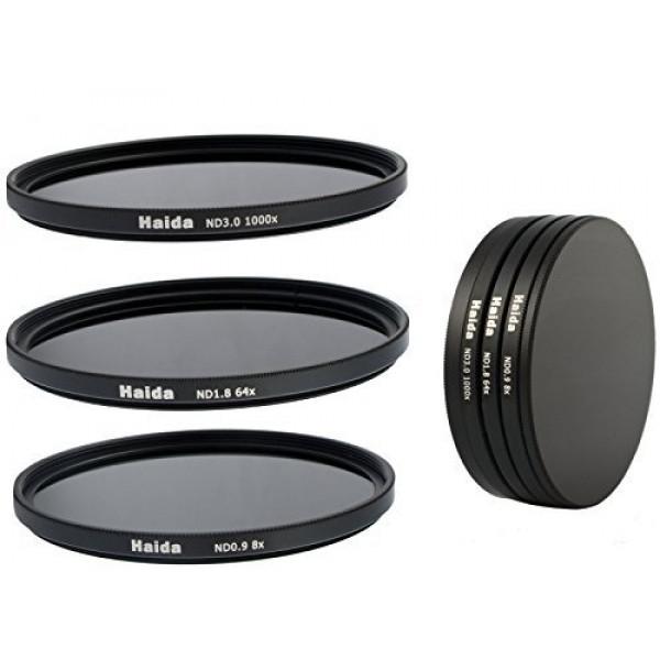 Haida Neutral Graufilter Set für Sony NEX bestehend aus ND8x, ND64x, ND1000x Filtern 49mm inkl. Stack Cap Filtercontainer + Pro Lens Cap mit Innengriff-37