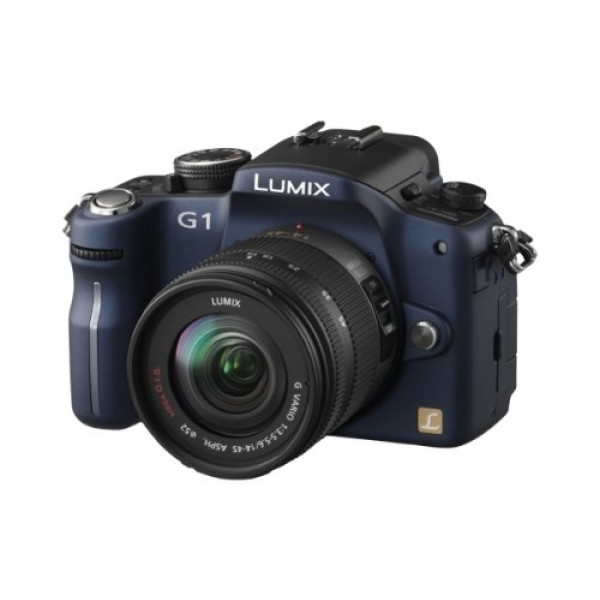 Panasonic Lumix DMC-G1K SLR-Digitalkamera (12 Megapixel, LiveView) blau inkl. Vario 14-45 mm F3,5-5,6-37