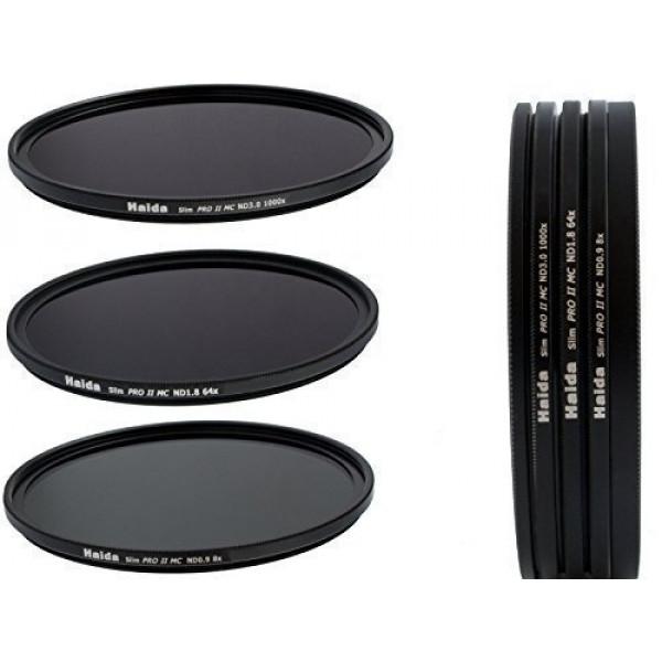 Slim PRO II Digital MC Neutral Graufilter Set bestehend aus ND8, ND64, ND1000 Filtern 72mm inkl. Stack Cap Filtercontainer + Pro Lens Cap mit Innengriff-37