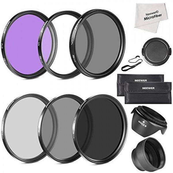 Neewer® 58MM Muss Objektiv-Filter Zubehörsatz für CANON EOS Rebel T3i T5i T4i T3 T2i T1i XT XTi XSi SL1 DSLR Kameras Beinhaltet: 58MM Filtersatz (UV, CPL, FLD) + ND Graufilter Set (ND2, ND4, ND8 ) + Tragetasche + Faltbare Sonnenblende + Tulpen Lichtblend-31