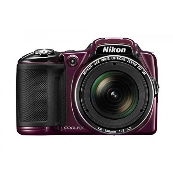 Nikon Coolpix L830 Digitalkamera (16 Megapixel, 34-fach opt. Zoom, 7,6 cm (3 Zoll) RGBW-LCD-Display, bildstabilisiert, Dynamic-Fine-Zoom, Full-HD) aubergine-310