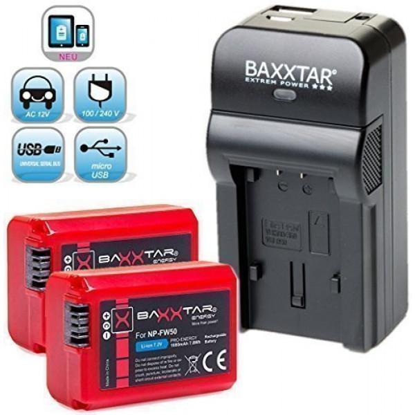 Baxxtar RAZER 600 II Ladegerät 5 in 1 + 2x Baxxtar PRO ENERGY Akku für Sony NP-FW50 (echte 1080mAh) passend zu Sony ILCE QX1 Alpha 5000 5100 6000 6300 Alpha 7 und 7 II 7S CyberShot DSC RX10 Sony NEX-6 NEX-F3 NEX-7 NEX-7B NEX-7C NEX-7K NEX-3 NEX-3N NEX-37