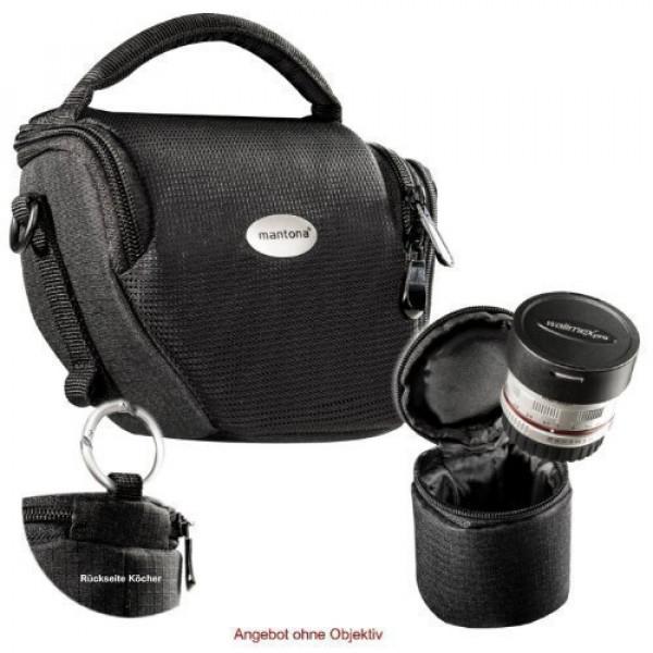 MANTONA VARIO DUO schwarz kompakte System Kameratasche mit Schultergurt und separatem OBJEKTIVKÖCHER-36