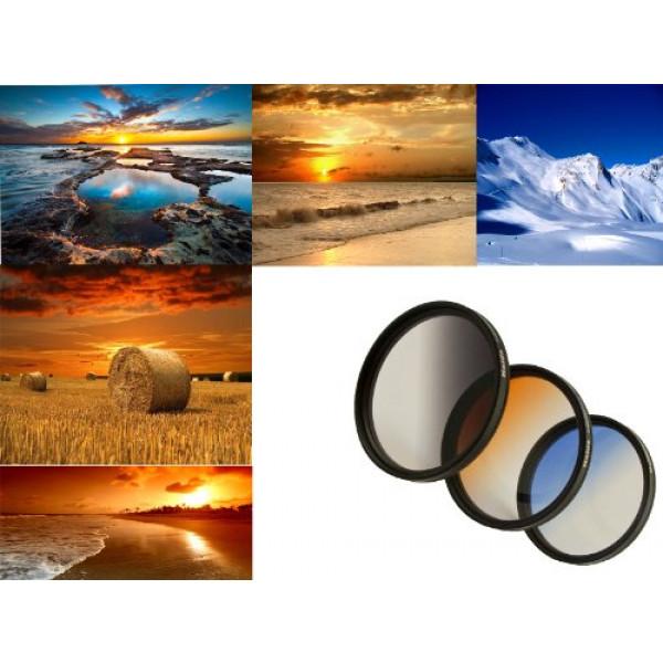 3er Verlaufsfilter Set (Blau, Grau, Orange) für Digitalkameras Filterdurchmesser 72mm Inkl. passendem Filtercontainer-38