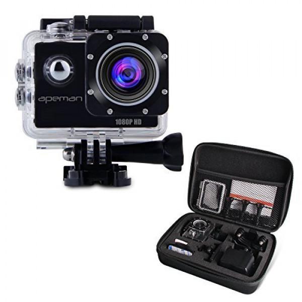 APEMAN Full HD Action Kamera 1080P Sports Camera Cam 170° Weitwinkel-Objektiv mit Transporttasche und Zubehör Kit-39