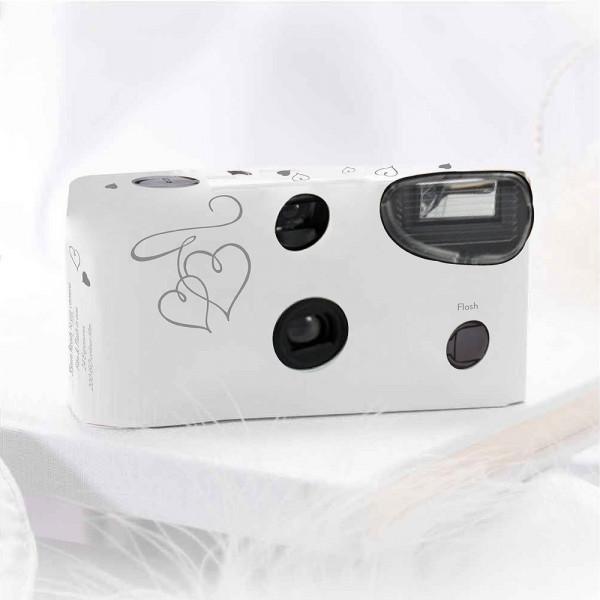 Einwegkameras / Einwegfotos in weiß mit silbernen Herzen Inhalt pro Packung: 10 Stück Hochzeitskameras-31