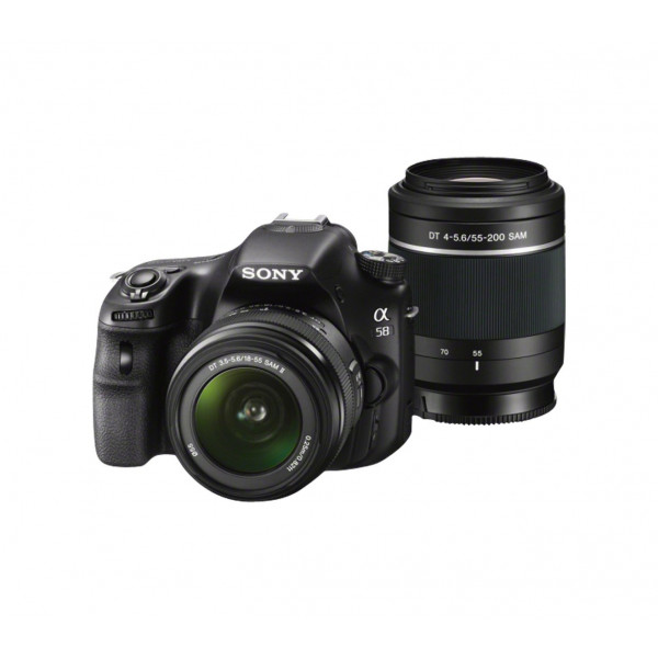Sony SLT-A58Y SLR-Digitalkamera (20,1 Megapixel, 6,7 cm (2,7 Zoll) LCD-Display, APS HD CMOS-Sensor, HDMI, USB 2.0) inkl. SAL 18-55mm and SAL 55-200mm Objektiv schwarz-319