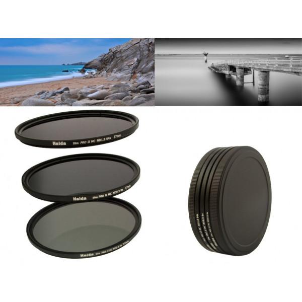 Slim PRO II Digital MC Neutral Graufilter Set bestehend aus ND4x, ND8x, ND64x Filtern 77 mm inkl. Stack Cap Filtercontainer + Pro Lens Cap mit Innengriff-37