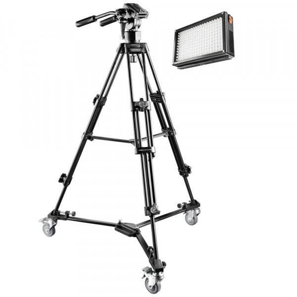 Mantona Reportage Set inkl. EL-9901 Video Stativ, Stativwagen und Bi-Color LED 209-312