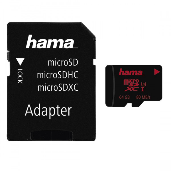 Hama microSDXC 64GB UHS Speed Class 3 UHS-I 80MB/s + Adapter/Action-Cam-32