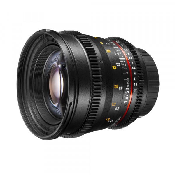 Walimex Pro 50 mm 1:1,5 VDSLR Video/Foto Objektiv für Canon EF Objektivbajonett (Filtergewinde 77 mm, Zahnkranz, stufenlose Blende, Fokus, IF) schwarz-34