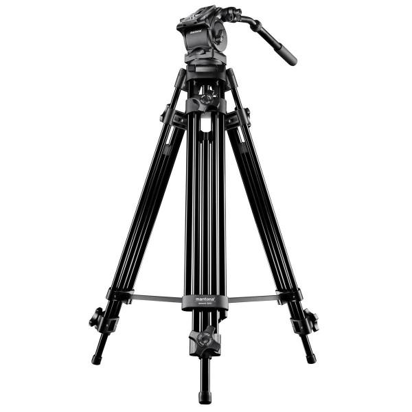 Mantona Dolomit 2200 Videostativ 156 cm (inkl. Fluid-Neiger, Wasserwaage, Mittelspinne, Schnellwechselplatte) für DSLR und Videokamera-35