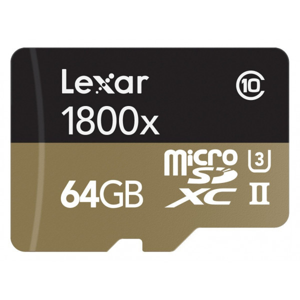 Lexar Professional 1800x microSDXC 64GB UHS-II W/USB 3.0 Reader Flash Memory Card LSDMI64GCRBEU1800R-36