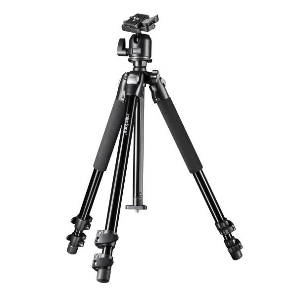 Mantona Pro Makro II Dreibeinstativ (inkl. Kugelkopf, Bodenadapter für Makrofotografie, Tragkraft 5kg)-310