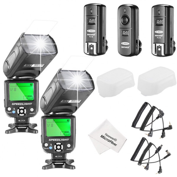 Neewer® NW-561 LCD Bildshirm Belitzgerät Speedlite Set für Canon Nikon und andere DSLR Kameras, Beinhaltet: 2x NW-561 Blitzgerät + 1x 2.4Ghz kabellose Trigger (1x Transmittel + 2x Empfänger) + 1x Mikrofaser Reinigungstuch-38