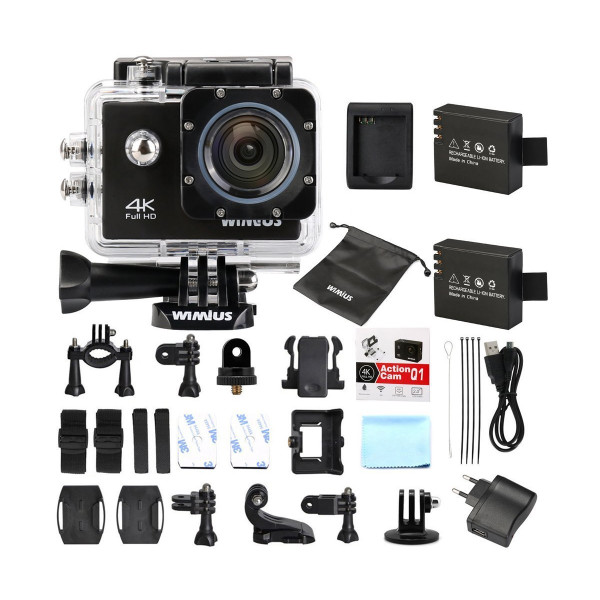 WiMiUS Actioncam 4k Kamera Action Wifi Full HD Actionkamera 16MP Helmkamera Wasserdicht 40M mit 2 Batterien (Q1) (Schwarz)-310