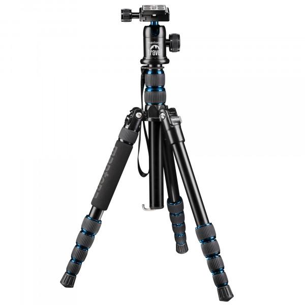 Mantona DSLM Reisestativ für System/DSLR/Kompaktkamera (143 cm (56,3 Zoll), Kugelkopf, Belastbarkeit: 5kg, drehbare Mittelsäule, kompaktes Packmaß) blau-311