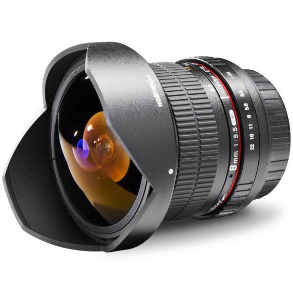 Walimex Pro 8 mm 1:3,5 DSLR Fish-Eye II Objektiv für Sony Alpha Objektivbajonett schwarz (mit abnehmbarer Gegenlichtblende)-312