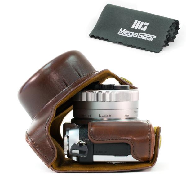 MegaGear Leder Kameratasche für Panasonic Lumix DMC-GF7 mit 12-32mm Kompakte Systemkamera (Dunkelbraun)-34