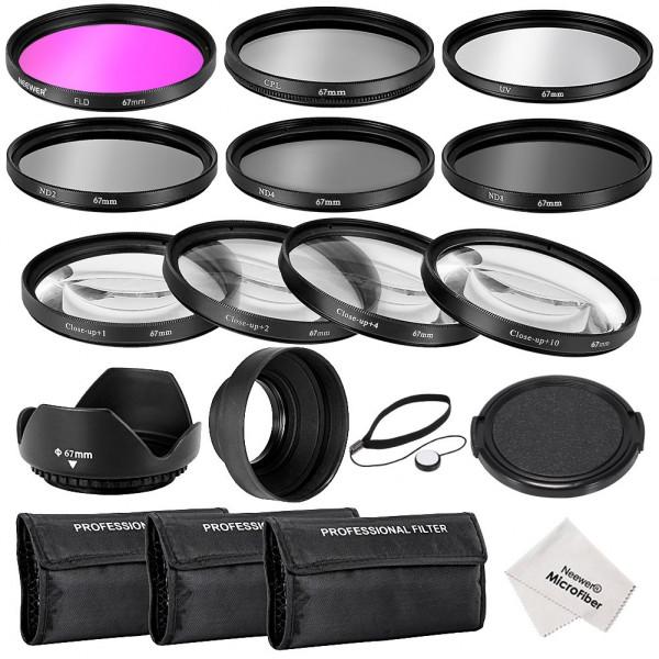 Neewer® 67MM Professionelle Komplette Objektiv-Filter Zubehörsatz für CANON EOS 70D 60D 7D EOS 700D 650D 6D 600D 550D / T5i T4i T3i T3 T2i DSLR-Kameras, Set umfasst: (1) Filterset (UV, CPL, FLD) + (1) Makro Close-up Filter Set (+1, +2, +4, +10) + (1) Gra-38