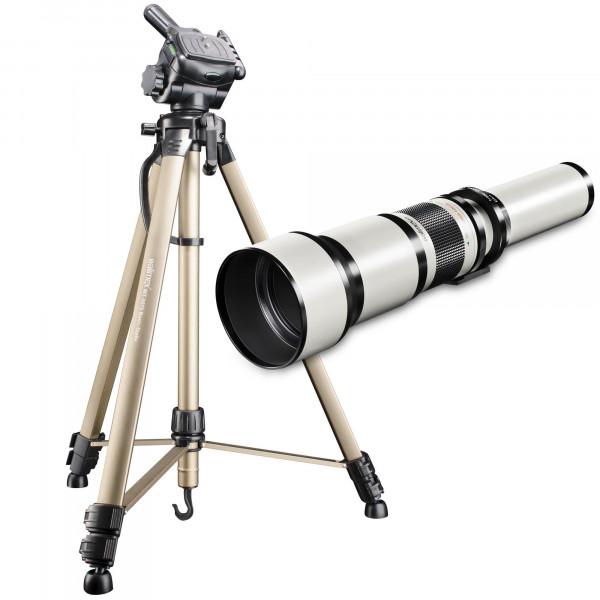 Walimex Pro 650-1300mm 1:8-16 DSLR-Teleobjektiv (Filtergewinde 95mm, IF) inkl. Dreibeinstativ Walimex Pro WT-3570für Nikon F Objektivbajonett weiß-37