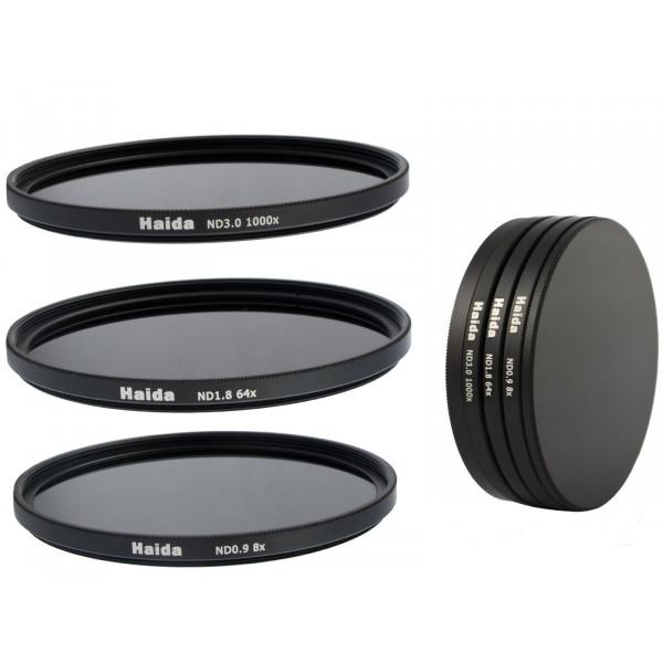Neutral Graufilter Set bestehend aus ND8, ND64, ND1000 Filtern 58mm inkl. Stack Cap Filtercontainer + Pro Lens Cap mit Innengriff-37