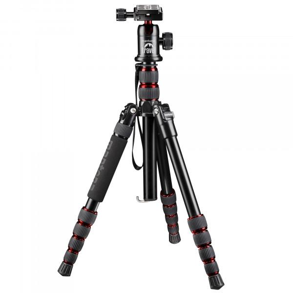 Mantona DSLM Reisestativ für System/DSLR/Kompaktkamera (143 cm (56,3 Zoll), Kugelkopf, Belastbarkeit: 5kg, drehbare Mittelsäule, kompaktes Packmaß) rot-311