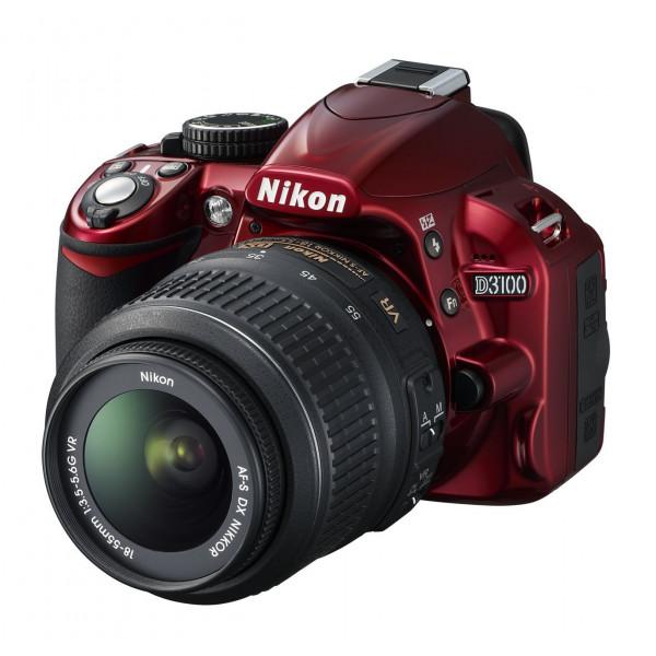 Nikon D3100 SLR-Digitalkamera (14 Megapixel, Live View, Full-HD-Videofunktion) Kit inkl. AF-S DX 18-55 VR Objektiv rot-311