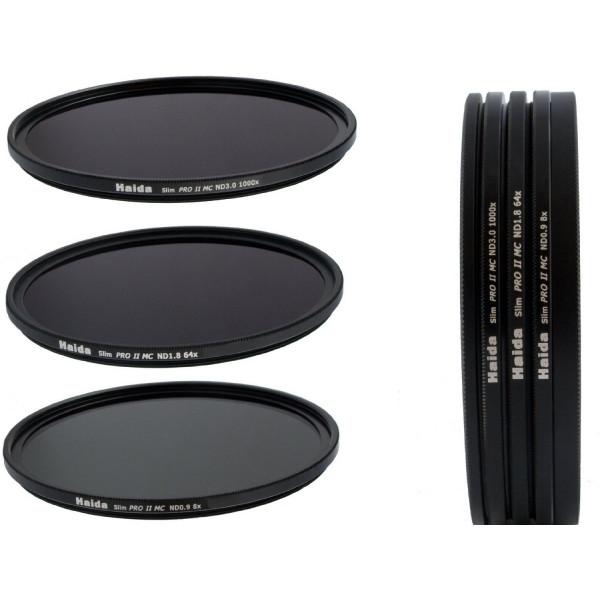 Slim PRO II Digital MC Neutral Graufilter Set bestehend aus ND8, ND64, ND1000 Filtern 77mm inkl. Stack Cap Filtercontainer + Pro Lens Cap mit Innengriff-37