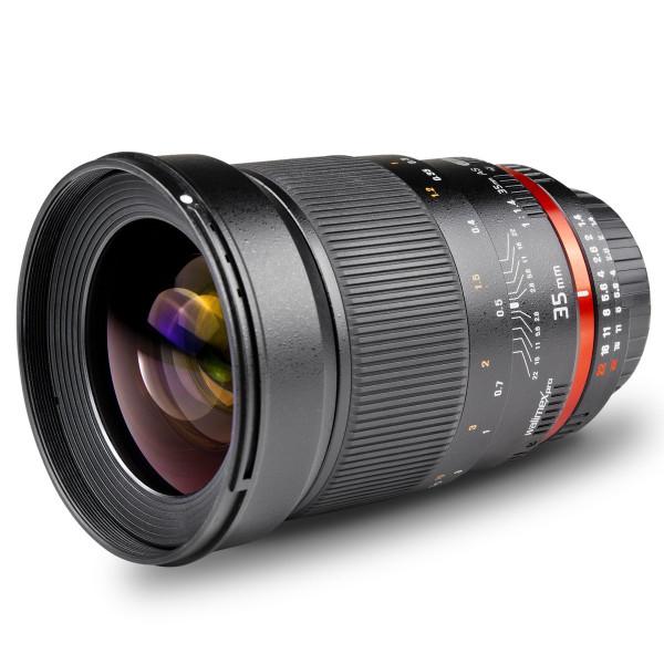 Walimex Pro 35mm 1:1,4 DSLR-Objektiv AE (Filtergewinde 77mm, Gegenlichtblende, Chip für EXIF-Datenaustausch, IF, AS-Linsen) für Nikon F Objektivbajonett schwarz-39