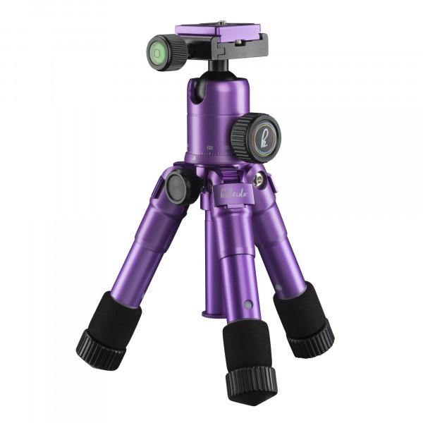Mantona kaleido mini Foto-/Tisch und Travelstativ (inkl. Kugelkopf mit Schnellwechselplatte und Transporttasche) light purple metallic-38