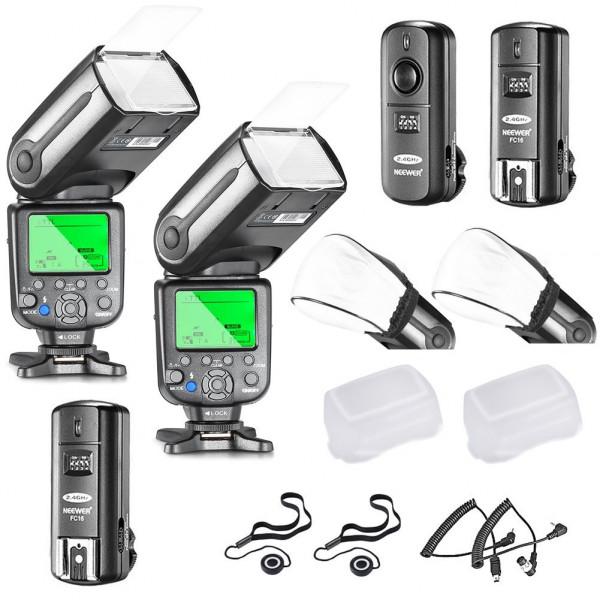 Neewer® Profi i-TTL-Kamera Slave Flash Blitz Blitzgerät Set für NIKON D7100 D7000 D5300 D5200 D5100 D5000 D3200 D3100 D3300 D90 D800 D700 D300 D610 D300S, D3S D3X Inklusive D3 D4 D600 D200 DSLR Kamera,das Set beinhaltet: 2 Neewer Auto-Fokus Blitz + 2.4Ghz-38