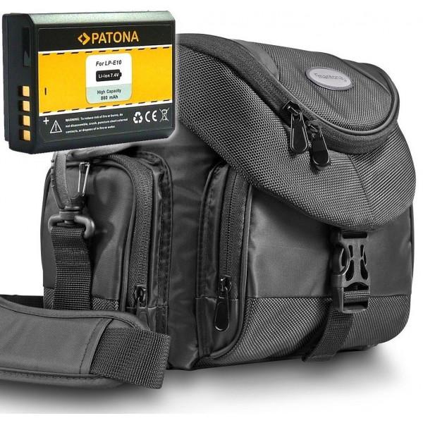 KIT Mantona Premium System Tasche schwarz + PATONA Akku für CANON LP-E10 Für CANON EOS 1100D 1200D-36
