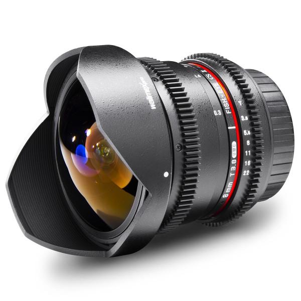 Walimex Pro 8 mm 1:3,8 VDSLR Fish-Eye II Objektiv Foto und Video (abnehmbare Gegenlichtblende, IF, Zahnkranz, stufenlose Blende und Fokus) für Olympus Four Thirds Objektivbajonett schwarz-37