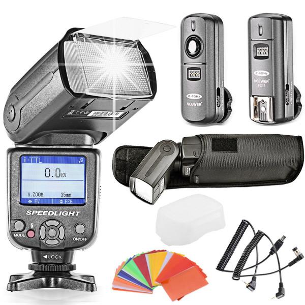 Neewer® NW985N *Farben TFT-Display * High Speed Synchronisation I-TTL Flash Blitz Blitzgerät Set für Nikon D7000 D5300 D5200 D5100 D5000 D3300 D3200 D3100 D800 D40, D40X, D50, D60, D70, D70S, D80, D80S, D90, D200, D300 und alle übrigen Nikon Kameras, Von-38
