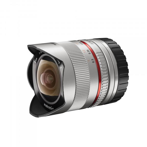 Walimex Pro 8mm 1:2,8 Fish-Eye II Objektiv für Canon EOS M Objektivbajonett (Bildwinkel 180 Grad, MC Linsen, große Schärfentiefe, feste Gegenlichtblende) silber-37