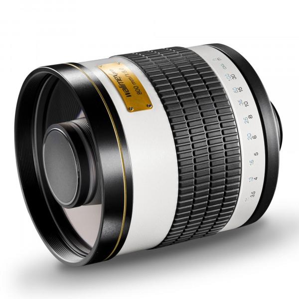 Walimex Pro 800mm 1:8,0 DSLR-Spiegelobjektiv (Filtergewinde 35mm) für Olympus OM Objektivbajonett weiß-35