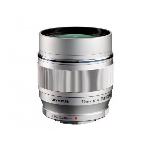 Olympus M.Zuiko Digital ED 75 mm 1:1:8 Objektiv für Micro Four Thirds Objektivbajonett (150 mm KB) silber-34