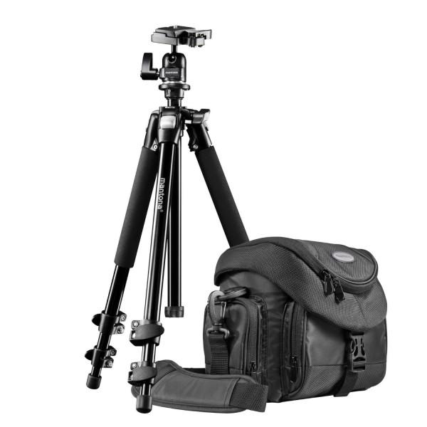Mantona Premium Scout 2in1 Set inkl. Fototasche Premium und Kamerastativ Scout für DSLR und Systemkameras-313