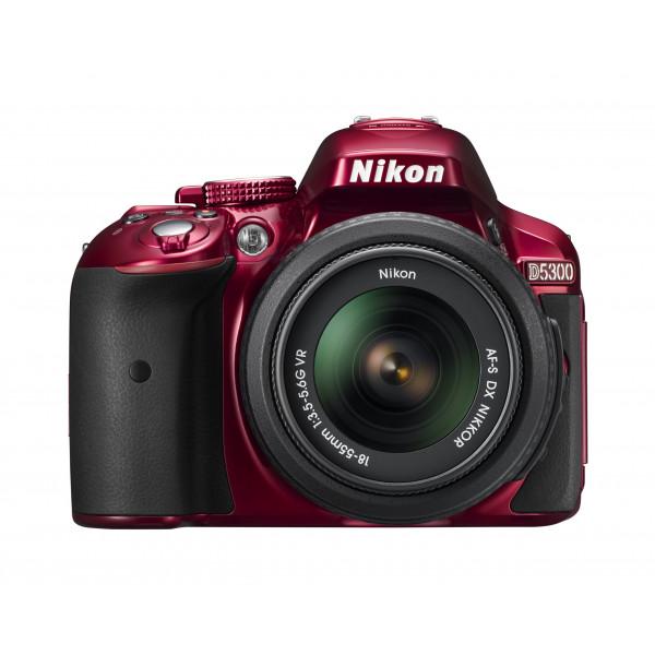 Nikon D5300 SLR-Digitalkamera (24,2 Megapixel, 8,1 cm (3,2 Zoll) LCD-Display, Full HD, HDMI, WiFi, GPS, AF-System mit 39 Messfeldern) Kit inkl. AF-S DX 18-55 VR Objektiv rot-35