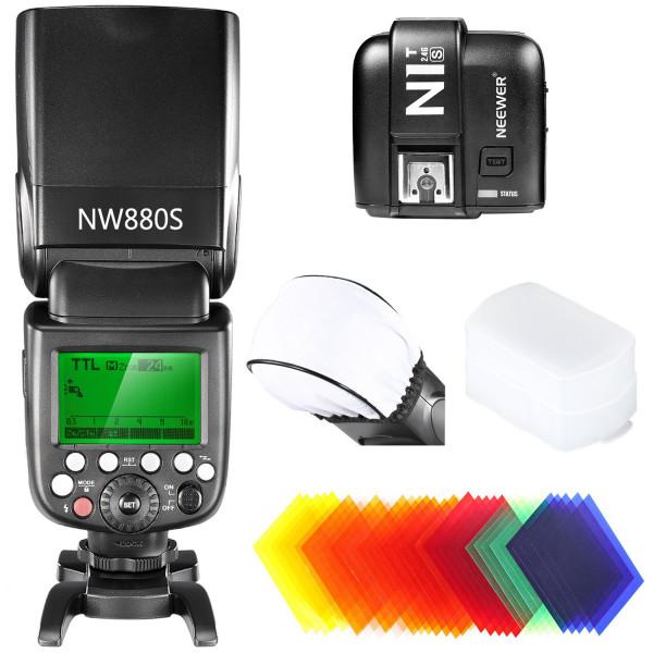 Neewer® 2.4G Funk 1/8000 HSS TTL Master / Slave-Blitz Speedlite Set für Sony-Kamera mit neuen Mi-Schuh, enthält (1) NW880S Blitz + (1) N1T-S Auslöser + (1) Hart and Weich Blitz-Diffusor + 35 Stück Farbfilter-38