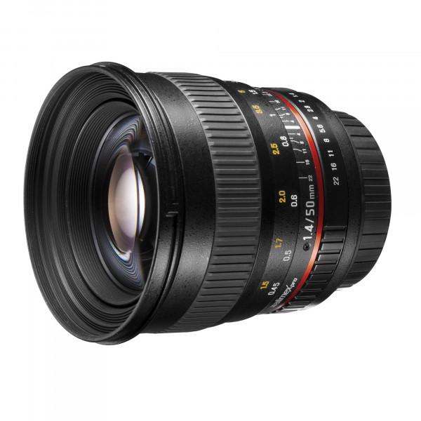 Walimex Pro 50mm f/1,4 DSLR Porträt Objektiv für Sony Alpha inkl. Sonnenblende/Filterdurchmesser 77 mm schwarz-34