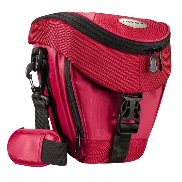 Mantona Colt Kameratasche (Universaltasche inkl. Schnellzugriff, Staubschutz, Tragegurt und Zubehörfach, geeignet für DSLR und Systemkameras) rot-33