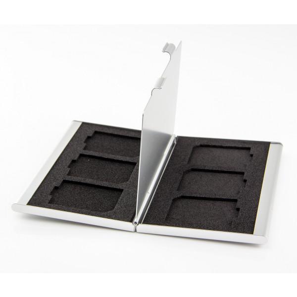 HiBoTech SD Kartenbox Aluminium kompakt Silber 6 SD Karten-36