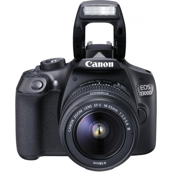 Canon EOS 1300D Digitale Spiegelreflexkamera (18 Megapixel, 7,6 cm (3 Zoll), APS-C CMOS-Sensor, WLAN mit NFC, Full-HD ) Kit mit EF-S 18-55 mm und EF 50 mm STM Objektiv schwarz-313