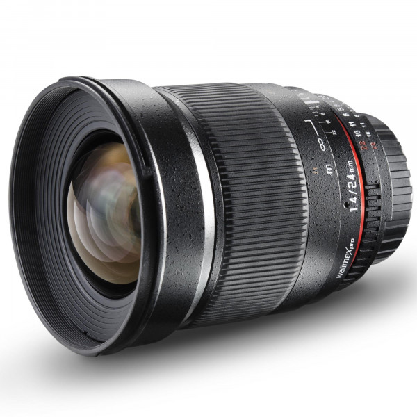 Walimex Pro 24mm 1:1,4 DSLR-Weitwinkelobjektiv AE (Filtergewinde 77mm, Chip) für Nikon F Objektivbajonett schwarz-310